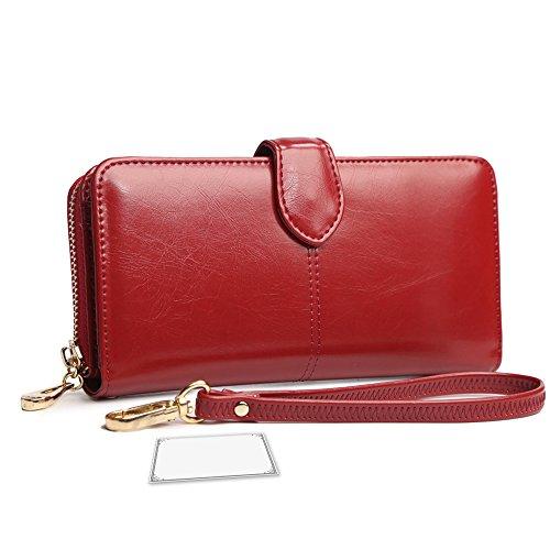 9ff2ccf70050 Artemis'Iris Womens Luxury Wax Leather Wallet Large Capacity Zipper Clutch  Multi Card Slots Travel