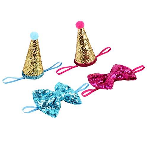 SM SunniMix 2X Haustier Partyhut Stirnband Kopfband und Fliege Party Kopfbedeckung für Hund und Katze