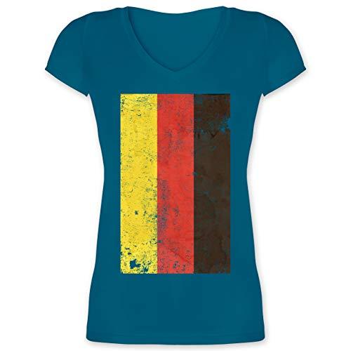 Handball WM 2019 - Deutschland Flagge Vintage - M - Türkis - XO1525 - Damen T-Shirt mit V-Ausschnitt