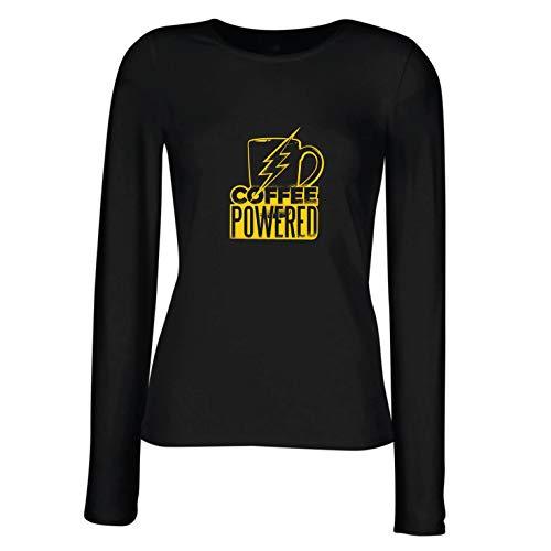 angen Ärmeln T-Shirt Superheld kaffeebetrieben, Koffeinliebhaber sarkastisches Geschenk (Small Schwarz Mehrfarben) ()
