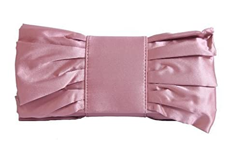 Rose pink satin clutch bag with giant bow and gathers by Olga Berg