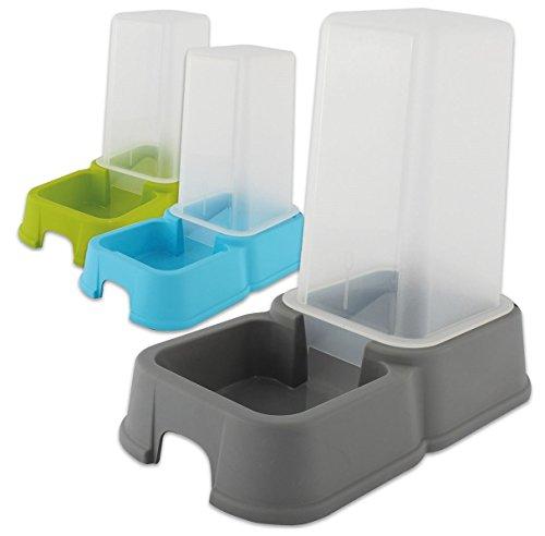 Futterspender Wasserspender Futterstation Kunststoff für Katzen oder Hunde 1,5 Liter, Farbe:Hellblau