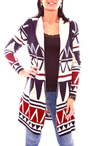 Easy Young Fashion Lange Damen Kapuzen Strickjacke Open Cardigan mit Ethno-Muster (One Size, Marine/Creme)