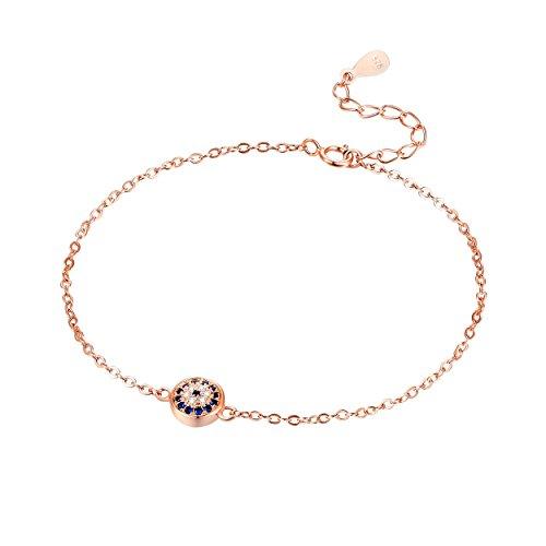 Karisma Damen roségold Silber 925 rhodinert Armband Böses Auge Nazar Zirkonia Weiss Verlängerung 3cm (Auge Damen)