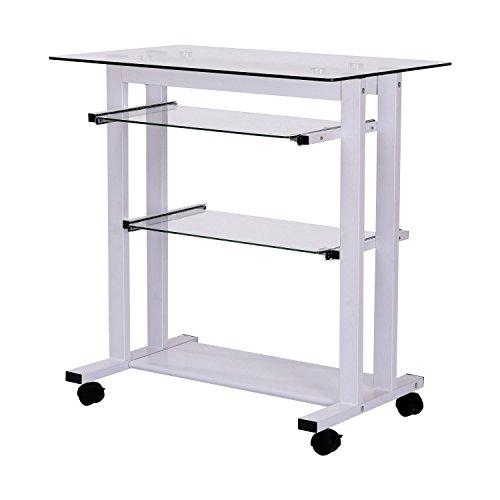 Homcom 920-015WT Computertisch, Metall, Modell 5/Weiß, 80.0 x 51.0 x 83.0 cm