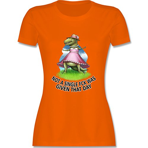 Statement Shirts - Not a single fck - T-Rex - tailliertes Premium T-Shirt mit Rundhalsausschnitt für Damen Orange