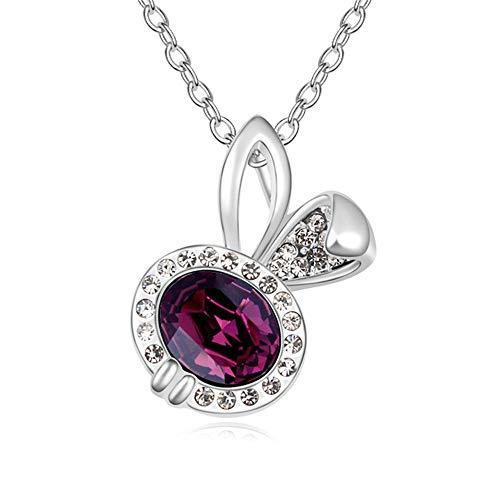 Serrale Damen Halskette Hase Kristall Anhänger Einfaches Mädchen Geschenk, Lila
