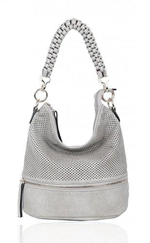 Damen Stil Grau Handtaschen CW150906 Zum Kunstleder Mode Damen Ash Schultertasche LeahWard® Tragetaschen dqEPUd