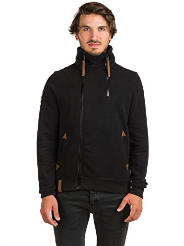Naketano Male Zipped Jacket Du Affenmensch IV Schwarz