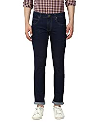 Park Avenue Cotton Blend Casual Solid Blue Low Rise Tapered Fit Jeans for Men