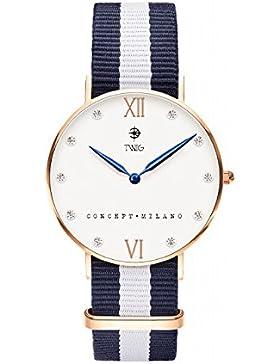 Armbanduhr TWIG Klee Wei§ Navy-Wei§ Jahrgang Klassisch
