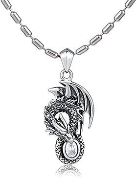 DonDon Herren Halskette Edelstahl 55 cm und Drachen Anhänger aus Edelstahl mit weißem Stein in einem Samtbeutel