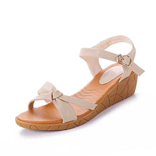 XY&GKSandales à talons Wedge avec fond plat plate-forme imperméable confortable Toe sandales de plage nue, confortable et belle 40 apricot