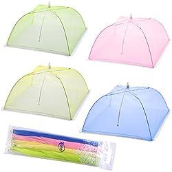 Tende per la copertura di cibo con schermo a maglie - Set di 4 paraventi per ombrellone per tenere insetti e mosche lontano da cibo a picnic, barbecue e altro - 4 colori (rosa, verde, blu, giallo)
