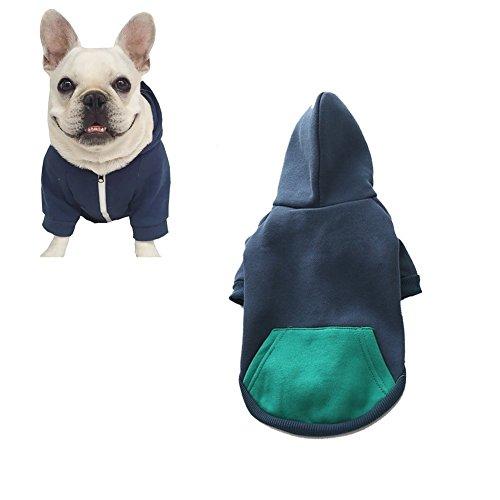 Meiwash Reißverschluss Kapuzen Haustier Kleidung Hund Katze Kleidung niedlichen Haustier Kleidung warme Kapuze französische Bulldogge Pug (XXL-groß, Blau)