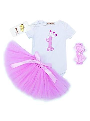 Mainaisi Baby Mädchen 1. Geburtstag Kleidung Set 3 Stück Romper + Rock Tütü + Stirnband Geschenk Verkleidung, 9-24 Monate