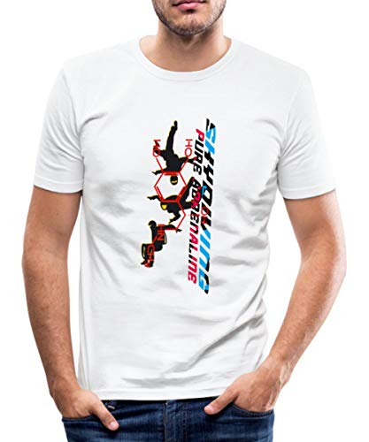 Skydiving Fallschirmspringen Männer Slim Fit T-Shirt, M, Weiß