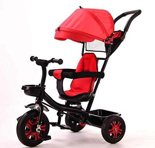 TEENO Tricycle Enfant/bébé Evolutif Mixte - Poussette évolutive - de 1 à 5 Ans - Rouge - Livré de France. (Rouge)