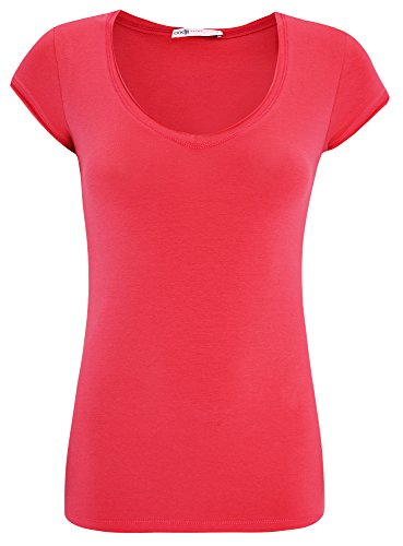 oodji Ultra Donna T-Shirt Basic, Rosa, IT 44 / EU 40 / M