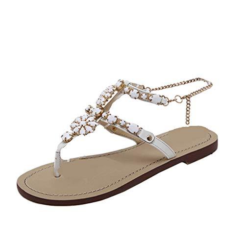 Beautyjourney infradito donna eleganti con strass mare sandali donna bassi elegant estivi scarpe donna estive eleganti sandali gioiello donna bassi - donna estate sandali t-strap scarpe (35, bianca)
