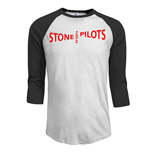 Oaueaiw Stone Temple Pilots Men's 3/4 Sleeve Raglan Baseball Tee Black,Black,Large -