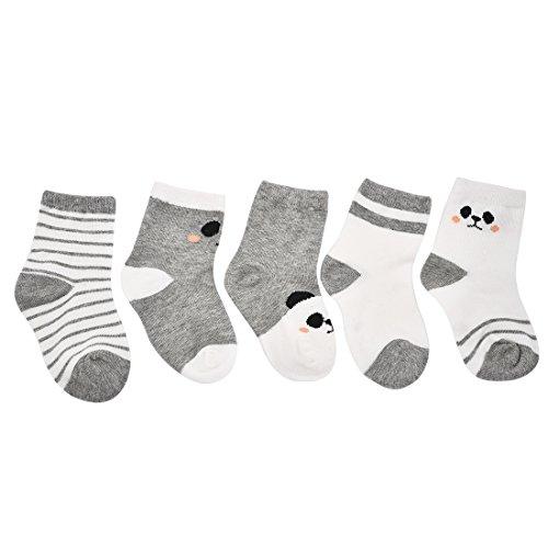 Graue Lustige Panda Socken Kleinkind Junge Nicht Skid Socken Nette Baumwolle Mit Griffen (Herren-walker Graue)