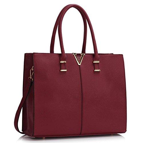 LeahWard® Damen Groß Mode Essener Berühmtheit Tragetaschen Damen Qualität Schnell verkaufend Modisch Handtaschen CWS00319B CWS00319C CWS00319 Burgundy V