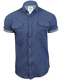 Para hombre camisa de tela vaquera por Smith & Jones de manga corta