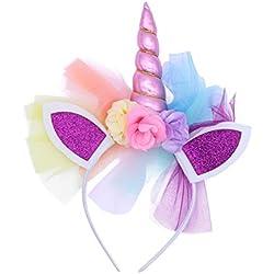 LUOEM Diadema cuerno de unicornio niñas Diadema unicornio diadema Cumpleaños Flor colorida Hheadwear para niños Adultos disfraces cosplay o decoración de fiesta de cumpleaños (rosa)