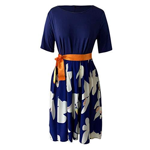 GOKOMO Mode Frauen Plue Größe Sexy O-Neck Print Bow Lace Up gespleißt Kurzarm Kleid(Blau,XX-Large) Bow Print Silk Dress