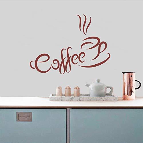 Kaffeetasse Wandaufkleber Küche Café Vinyl Wandtattoos Dekoration Abnehmbare Wandkunst Wand Haus Dekoration Lila 40x53 cm