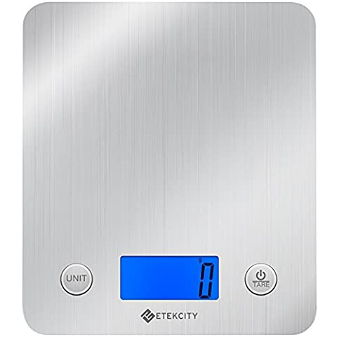 Etekcity Digital Kitchen Food Scale, Stainless Steel Electronic Weighing Cooking Scales with 30% Larger Platform & Backlight Display, 11lb/5kg, Slim Design, Silver