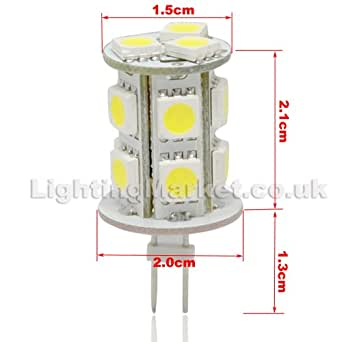 G4 High Power 13 SMD(5050 Chip) LED Cylinder Capsule Bulb-Cool White 15W-20W Halogen Replacement
