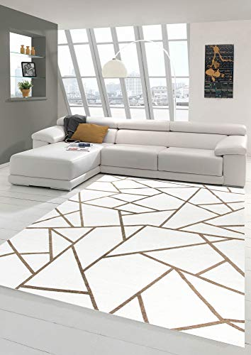 Merinos Orientteppich Wohnzimmer Teppich Geometrisches Muster in Creme Gold Größe 80x150 cm (Gold, Läufer Teppich)