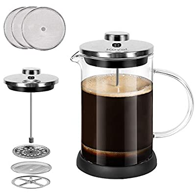 Kuyal French Press Coffee Maker, Stainless Steel Cafetiere Tea Press for Morning Coffee with 3 Additional Coffee Filters 5 Cup / 600ml