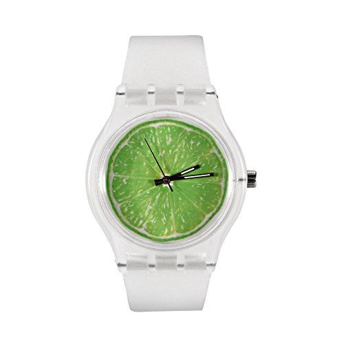 Montres pour des femmes, montre-bracelet d'étudiant simple de bracelet de silicone rond de quartz analogique(Green Dial)