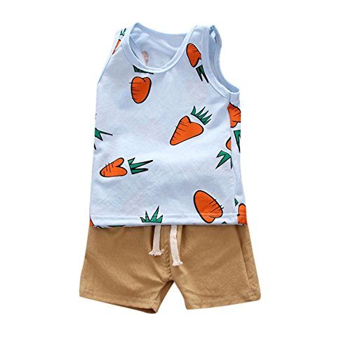 UFODB Kinder Sportanzug Jungen Sommer, Baby Set Fun Fashion Kleidung Shirt ärmlos Tank Top + Shorts Junge Basketball Anzug