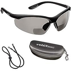 voltX 'CONSTRUCTOR' (AHUMADO/GRIS dioptría +2.5) Gafas de Seguridad de Lectura BIFOCALES que cumplen con la certificación CE EN166F / Gafas para Ciclismo incluye cuerda de seguridad + estuche de seguridad rígido con bisagras - Reading Safety Glasses