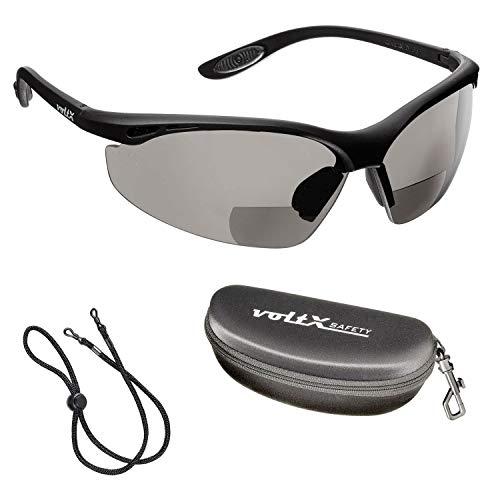 voltX 'Constructor' BIFOKALE Schutzbrille mit Lesehilfe (RAUCHGRAUE +2.0 Dioptrie) CE EN166F Zertifiziert/Sportbrille für Radler enthält Sicherheitsband + Sicherheitsetui - Bifocal Safety Glasses