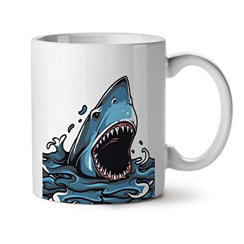 Wellcoda Great White Shark Kiefer Attack weiß Tee Kaffee Keramik Becher 11OZ