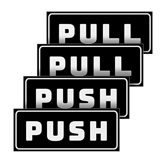 eSplanade Push Pull Door Decal Stickers Sign - Easy to Mount Weather Resistant Long Lasting Ink (Size 5 x 2)