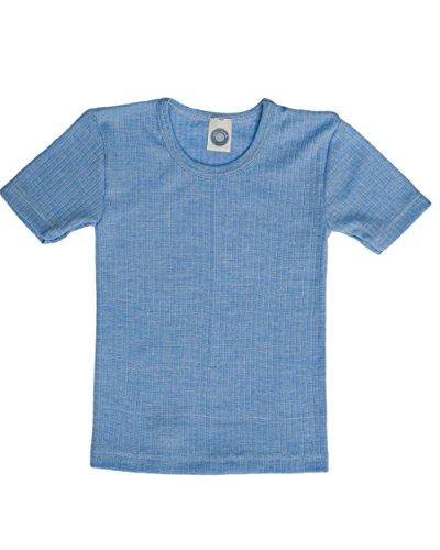 Cosilana, Kinder Unterhemd Kurzarm, 45% KBA Baumwolle, 35% kbT Wolle, 20% Seide (104, Blau meliert) (Kinder-seiden-unterwäsche)