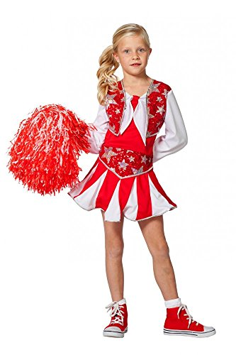 Luxus Cheerleader Kinder-Kostüm für MÄDCHEN Rot/Weiß/Silber mit Pailletten Kleid, Kindergröße:164