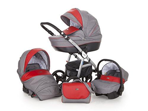 Lux4Kids Kinderwagen Set Babywanne Sportsitz Babyschale Wickeltasche Matratze Buggy 3in1 VIP Made in EU Ebur Grau-Rot