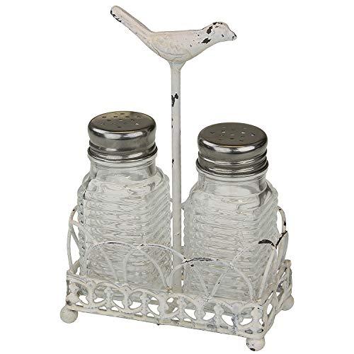 MACOSA SA80036 Salz-& Pfefferstreuer Vintage-Stil Antik-Weiß Gusseisen Shabby Chic Küchen Retro Deko Landhaus Pfeffstreuer Salzstreuer Tafelservice