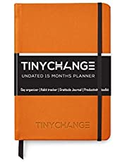 TinyChange Life Planner Undated A5 pages for 15 months with 10 Self discovery exercises, 16 checklists Re-usable Sleeve, Sticker sheets, Thank you cards and Bookmarks
