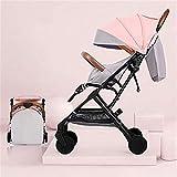 WYNZYYESTC Cochecito para bebé, el cochecito se puede sentar reclinable, ultra liviano, con un paisaje alto, mini paraguas, cochecito para niños (color : Rosado)