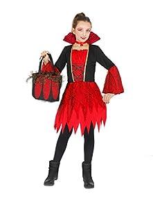 FIORI PAOLO Vampirella disfraz niña con bolsa con aplicaciones de encaje, rojo 5-7 anni rojo