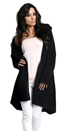 Lsecret  Damen Strickjacke Cardigan Pullover Kapuze 36 38 40 (Schwarz)