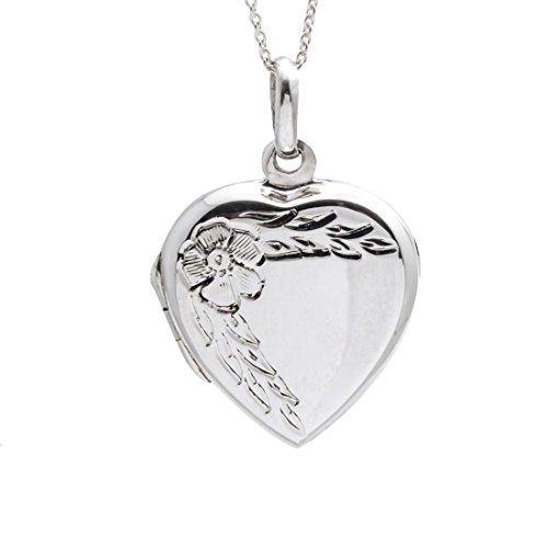 Silverly Argent 925 Collier Femme Fleur Coeur Médaillon qui s'ouvre 46 cm